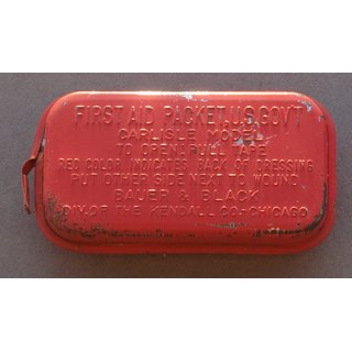 First Aid Packet, Metal Container, red